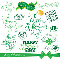 Set of hand written text: Happy St. Patricks Day, Good luck, etc
