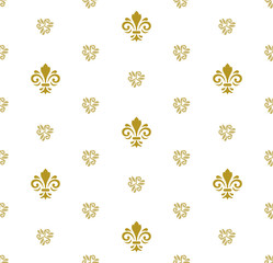 Seamless vector golden ornament. Modern geometric pattern with royal lilies