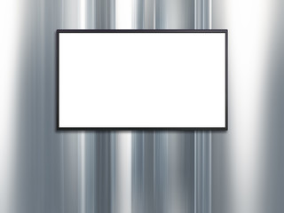 blank wide screen TV with platinum wall background