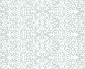 Seamless oriental ornament in the style of baroque. Traditional classic vector light blue and white pattern