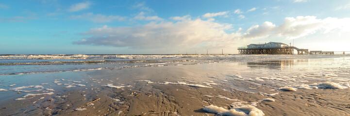 Wall Mural - Strand von St. Peter-Ording - Nordseeküste - Deutschland - Banner | Panorama