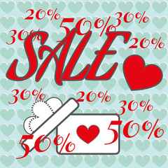 Happy Valentine's Day Sale Banner. Big White Gift Box with Bow, Red Heart and Promotional Text on Turquoise Hearts Pattern Backdrop. Sale Message Digital background vector percentage discount banner.