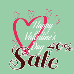 Happy Valentine's Day Sale Banner. Big Pink Heart Silhouette and White Congratulation Text on Green Backdrop. Black Sale Message Digital background vector percentage discount banner.