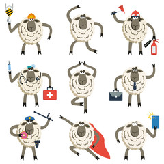 Sheep professional character vector set.