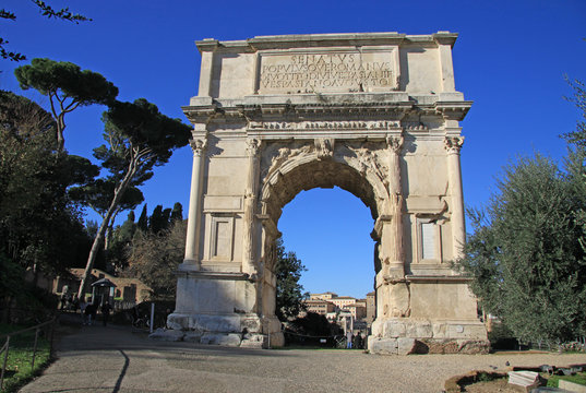 ROME, ITALY - DECEMBER 21, 2012: Arch of Titus on Roman Forum in Rome, Italy
