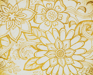 gold floral pattern on beige or cream color, elegant abstract flowers hand drawn on off white paper background, wedding design or website graphic art backdrop, doodled flower art