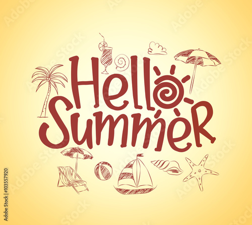 Simple Hello Summer Poster Design With Hand Drawing Vector Elements And Decoration Of Items In