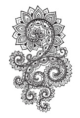 Beautiful hand drawn abstract scroll flowers in doodle style.