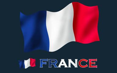 France flag with France text and black space / French flag with text and copypace