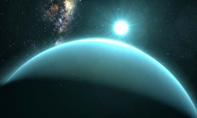 planet Uranus with sunrise on the space background