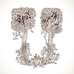 Magic forest hand drawn from trees by a vintage font - U