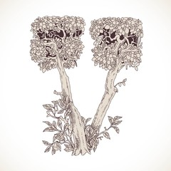 Magic forest hand drawn from trees by a vintage font - V