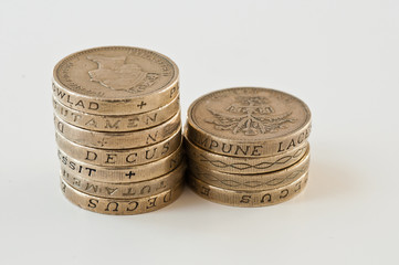 British currency two piles of pound coins