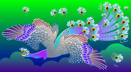 Illustration of Magic blue bird, vector cartoon image.