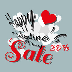 Happy Valentine's Day Sale Banner. White and Red Hearts with Black Congratulation Text on Gray Backdrop. Red Sale Message Digital background vector percentage discount banner.
