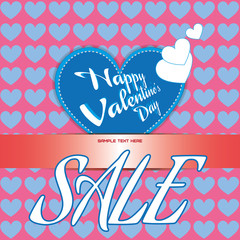 Happy Valentine's Day Sale Banner. Big Blue Heart and White Congratulation Text on Pink Backdrop. White Sale Message. Invitation Text Blank space. Digital background vector discount banner.