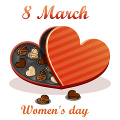 8 March. Women's day Greeting card. Celebration background with gift box chocolates. Vector Illustration