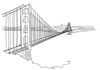 Hand drawn Golden Gate, San Francisco. Vector Scribble