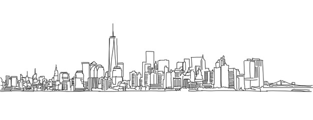 Free hand sketch of New York City skyline. Vector Scribble Wall mural