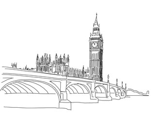 Hand drawn Popular view Big Ben and Westminster Bridge Outline