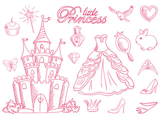 Pink princess sketch set.