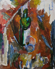 Oil painting still life with   table glass bottle, in brown tones On Canvas