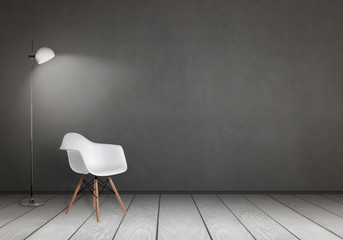 The chair and lamp with free space for design, poster or text on the wall.