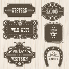 Western vintage labels isolated for design.Vector frames