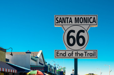 end of route 66 on santa monica pier, california Wall mural