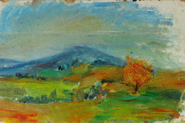 Old oil painting autumn landscape with mountains, trees, sky, sunset On Canvas