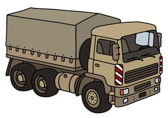 Sand military truck / Hand drawing, vector illustration