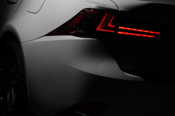 Headlight lamp of modern new white car