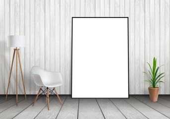 White poster frame mock up leaning against wall. Free space for design and text. Scene with lamp, chair and plant.