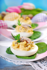 easter eggs stuffed with mushrooms