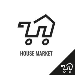 Agent, rent, house icon vector image. Shop logo.