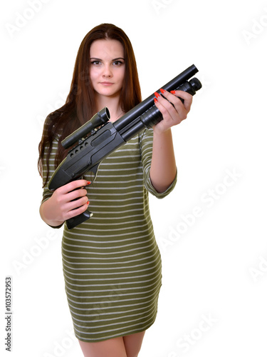 454 Beautiful Sexy Girl Holding Gun Photos - Free