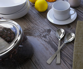 Tableware on a wooden table