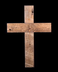 Rustic Wooden Cross on a Black Background