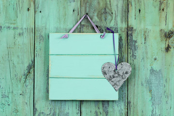 Blank mint green sign with silver tin heart