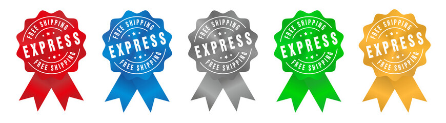 Vector Free Shipping Express Badge Ribbon