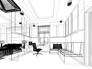 sketch design of sitting room ,3dwire frame render