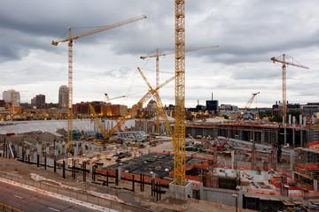 Deurstickers Treinstation Stadium Construction