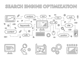 Vector line design concept web banner for search engine optimiza