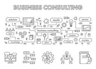 Vector line design concept web banner for business consulting.