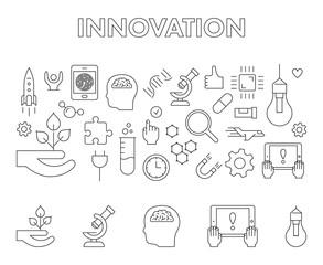 Vector line design concept web banner for innovation.