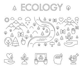 Vector line design concept web banner for ecology.