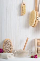 Wood massage brush on white background