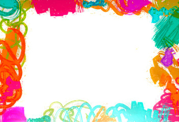 Childrens Color Border with Abstract Brush Strokes