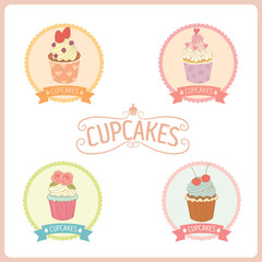 Vector cupcakes logo and label for bakery cafe shop.