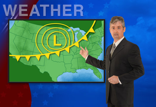 A tv television news weather meteorologist anchorman is reporting with a colorful background and weather graphics on the monitor screen
